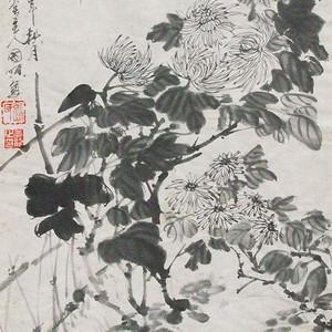 职业画家张国顺墨菊图竹墙架起芳香枝