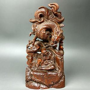 旧藏黄杨木雕降龙摆件