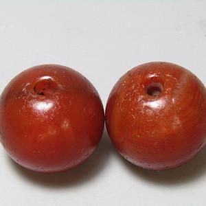 红玛瑙 珠 对 包浆老厚熟润