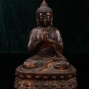 欧洲回流铜鎏漆金佛像