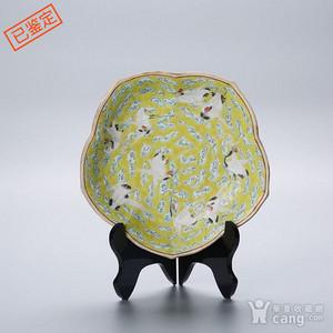 清末仙鹤瓷盘