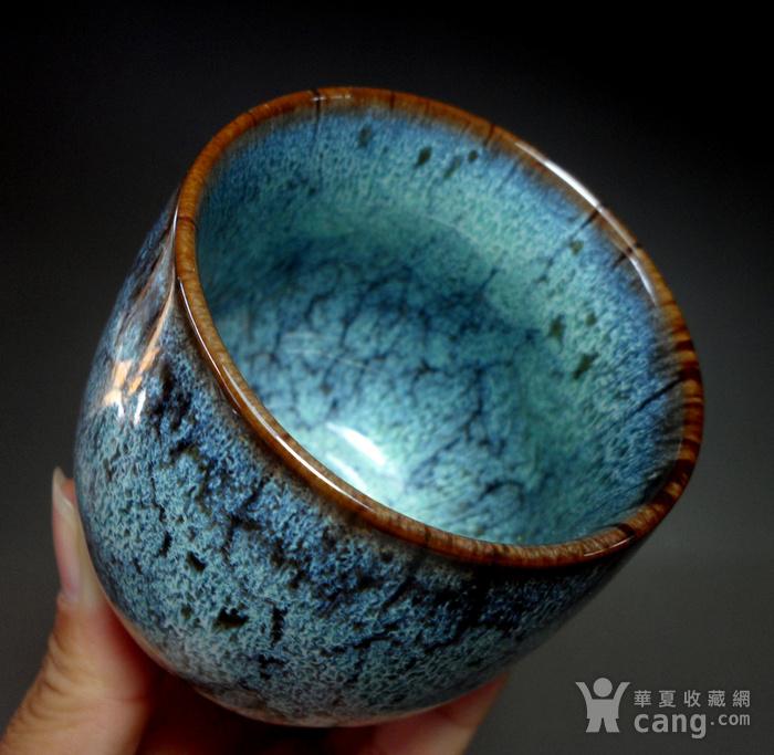 漂亮德化瓷窑变釉浅蓝色茶杯 品茗杯!图10
