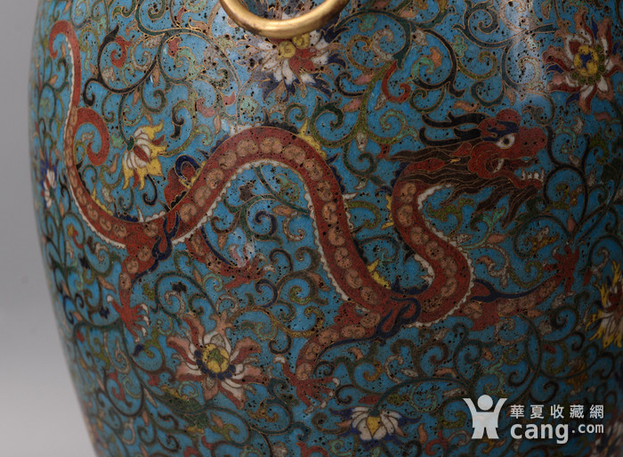 欧洲回流掐丝珐琅龙纹大花瓶图6