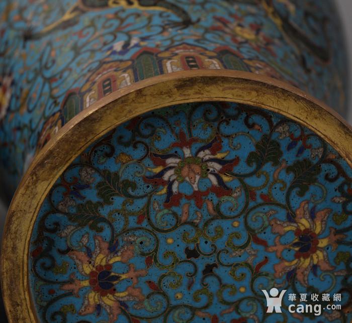 欧洲回流掐丝珐琅龙纹大花瓶图10
