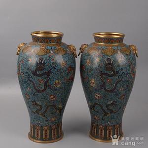 欧洲回流掐丝珐琅龙纹大花瓶
