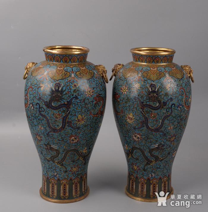 欧洲回流掐丝珐琅龙纹大花瓶图1