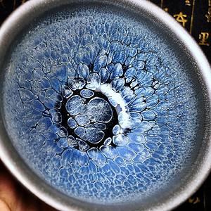 美炸!名家严记纯手工作品银蓝釉龙鳞纹美人杯建盏茶杯!