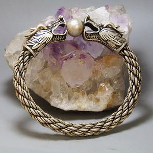 银质 二龙戏珠 手镯 手工打造 包浆老厚