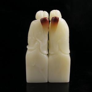 收藏珍品 寿山结晶巧色藕尖白芙蓉荷花对章
