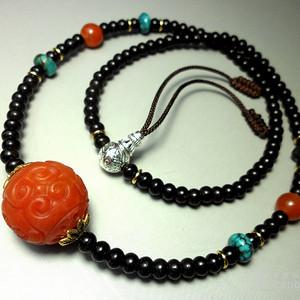 保山南红玛瑙复古回纹转运珠2.0大珠项饰!绿松石配珠!