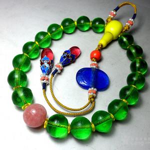 清代宫廷制式手持 !清代绿色老琉璃十八子佛珠!