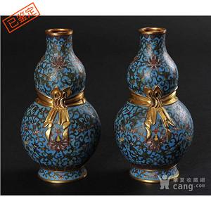 晚清 民国  精美铜胎掐丝珐琅缠枝花卉纹葫芦瓶一对