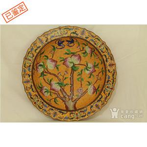 铜胎掐丝珐琅福寿纹大盘   直径52公分