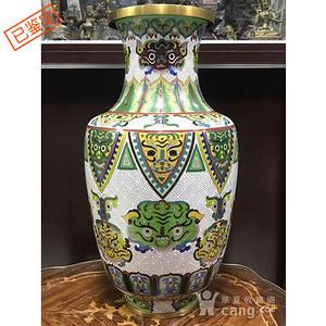 1103 清晚 铜鎏金掐丝珐琅饕餮纹棒槌瓶