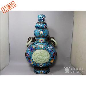 清代景泰蓝镶玉葫芦盖瓶