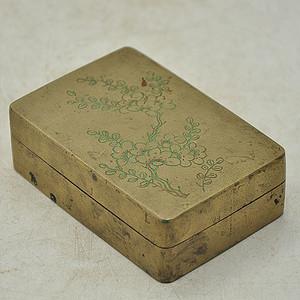 纯手工攒花铜墨盒
