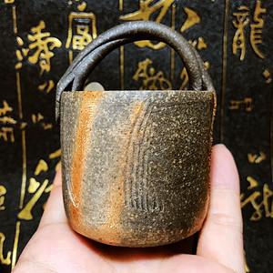 国外回流!日本纯手工制作洒紫金釉茶道陶艺茶具桶形杯茶道杯