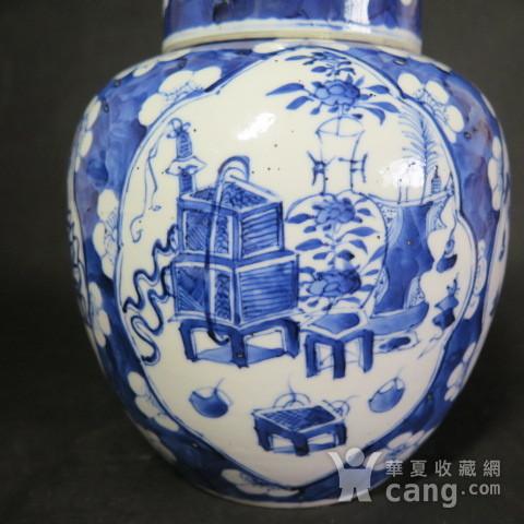 清代22cm博古清供青花盖罐图4