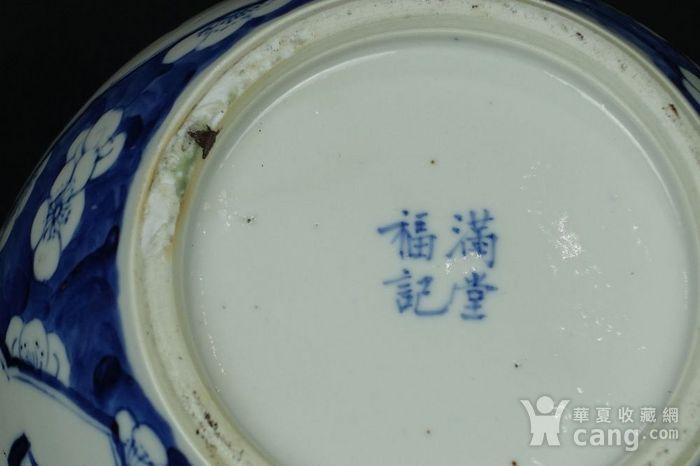 清代22cm博古清供青花盖罐图10
