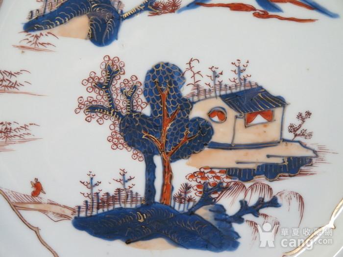清代28cm雍正山水风景描金彩粉大盘图3