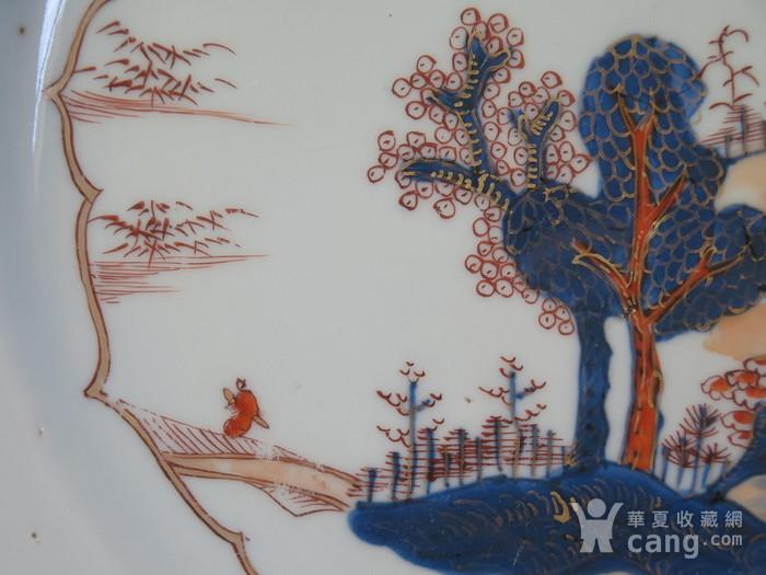 清代28cm雍正山水风景描金彩粉大盘图9