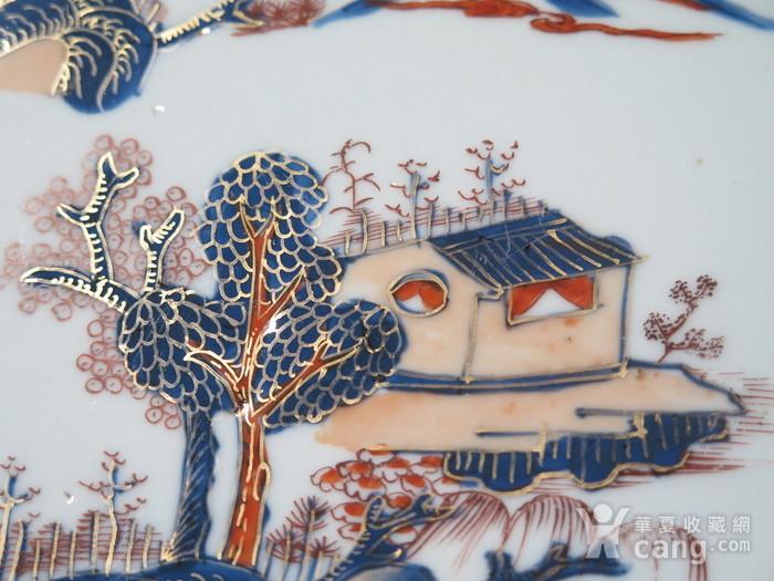 清代28cm雍正山水风景描金彩粉大盘图10