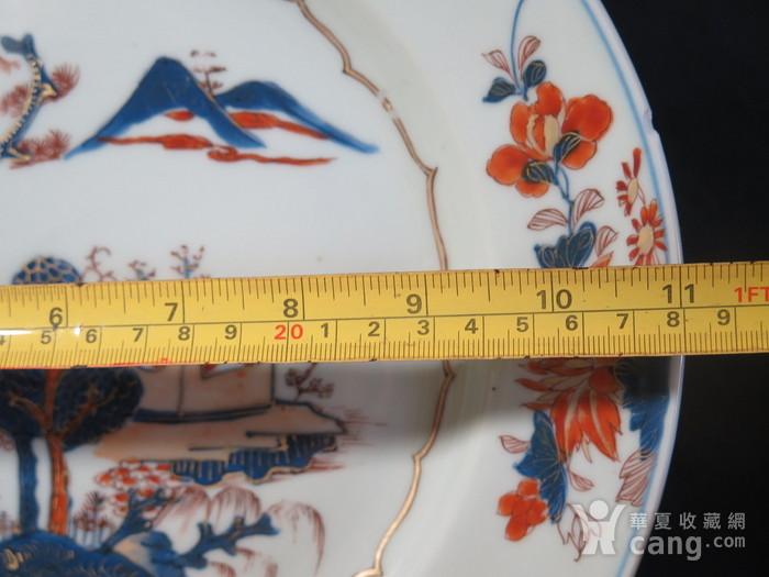 清代28cm雍正山水风景描金彩粉大盘图11