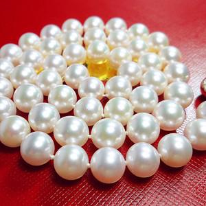 极美海珠!珠光宝气14K白金扣正圆海水珍珠极强光泽高档项链