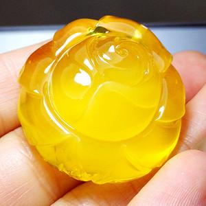 蜜蜡玫瑰花!波罗的海纯天然原矿无优化蜜蜡鸡油黄花开富贵