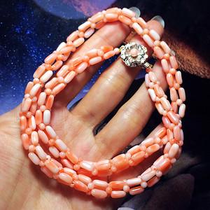 海外回流!纯天然深海珊瑚粉嫩婴儿粉樱花粉高档珊瑚项链!