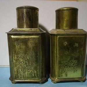 民国铜鎏金錾刻花茶叶罐一对