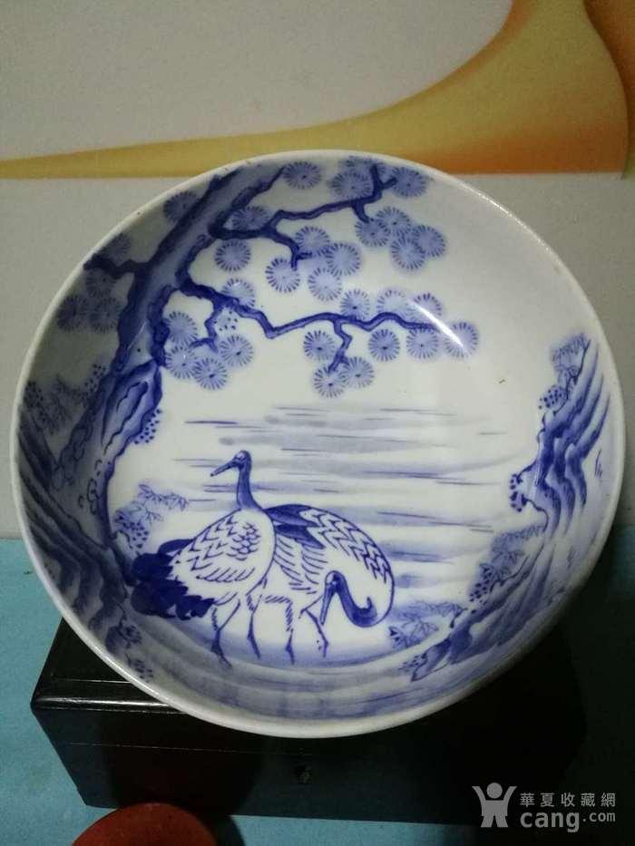 民国日本青花松鹤纹大碗图1