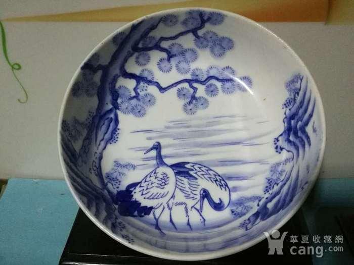 民国日本青花松鹤纹大碗图4