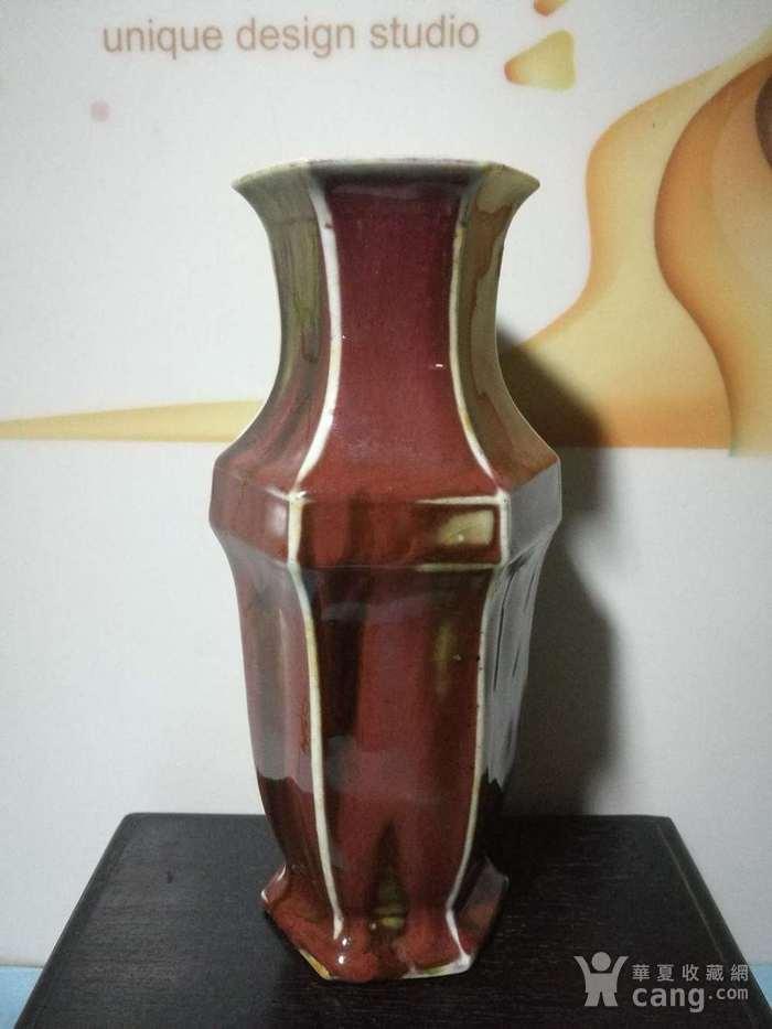 清晚期窑变釉六角瓶图2