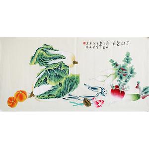 中央美院凌雪《百财聚来》手绘白菜工笔画真迹招财风水画