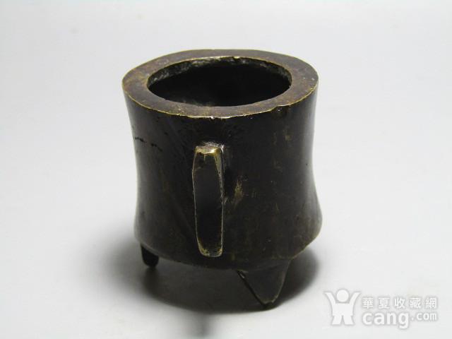 双立耳 带款 三足 铜香炉 手工斩刻 氧化清晰图2