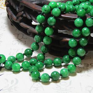 老坑 翡翠 满绿 圆珠 项链