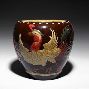凤凰牡丹画缸 宜兴均陶手工制作 国家级工艺美术员