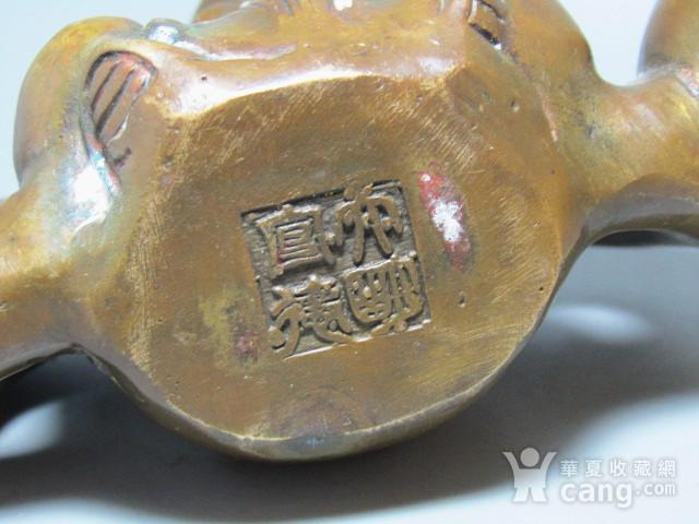 老铜 手工打造斩刻 带款 福禄寿三星镇尺图5