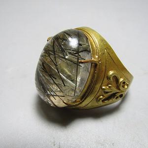 回流 水晶带发晶 男款戒指