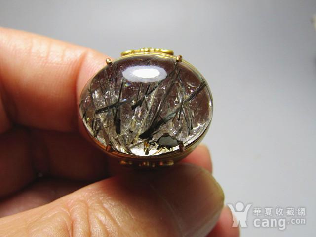 回流 水晶带发晶 男款戒指图2