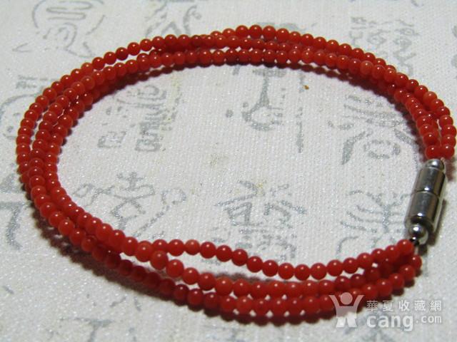 天然 阿卡红珊瑚 三圈女款手串图4