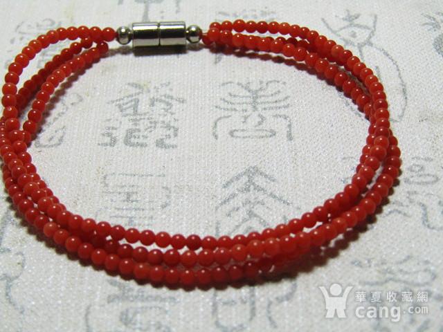 天然 阿卡红珊瑚 三圈女款手串图1