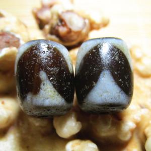 藏传 爆老 天珠对 包浆老道 皮壳熟润 氧化清晰