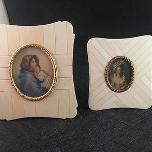 国内现货 二幅欧洲百年天然材质框手绘细密画