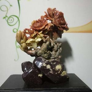 创汇期寿山芙蓉石雕富贵牡丹