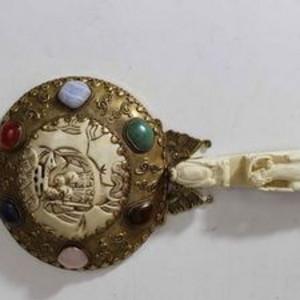 回流民国铜鎏金嵌宝手镜