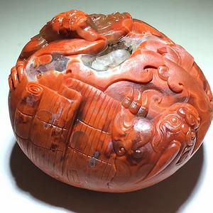苏工 南红柿子红 府上有龙 摆件 工艺细致 雕刻生动 大师级工艺 设
