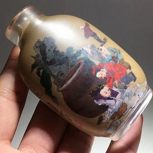 民国 琉璃内画鼻烟壶 手工 绘制 保浆老厚 画功精美至极