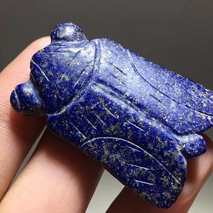 清早期 原矿 青金石 知了 挂件 手工 雕刻 保浆老厚